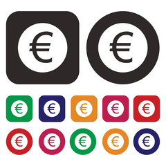 Euro EUR currency icon
