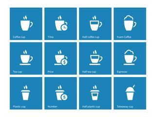 Tea mug icons on blue background.