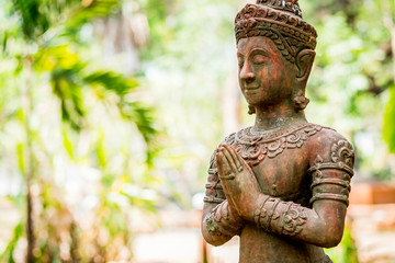 Recess Fitting Buddha Thai ancient angel act like paying respect or sawasdee