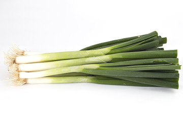 Young spring green onion isolated on white background