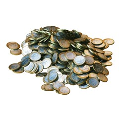 Pile of euro coins isolated on white background