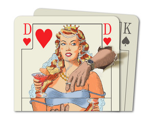 There is a queen of hearts having a party with a king of spades