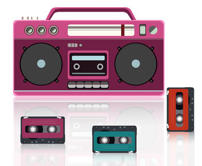 old radio and cassette vector