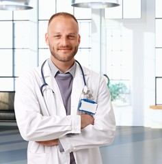 Portrait of young caucasian doctor