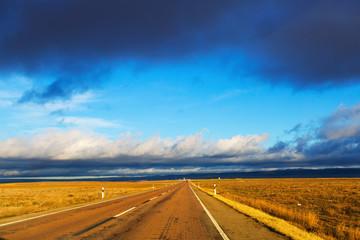 European road among fields
