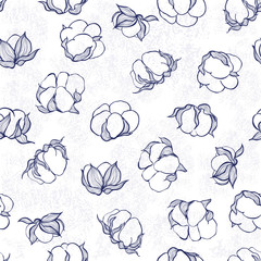 Seamless pattern with cotton. Vector monochrome background.
