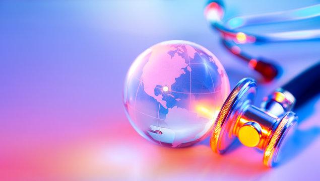 stethoscope on glass globe - Usa - sink planet