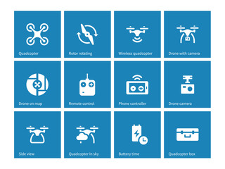 Quadrocopter icons on blue background.