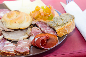 Plate of meats and cheeses from Tuscany