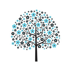 Decorative vector tree in blue bloom on white background