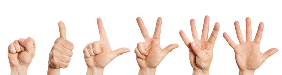 Hand zählt von null bis fünf