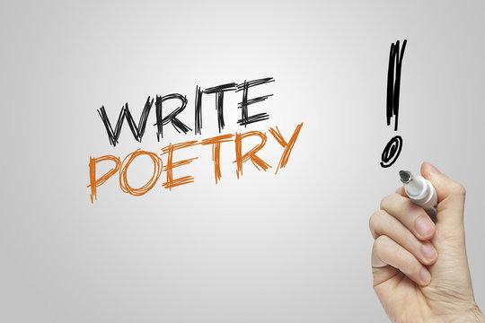 Hand writing write poetry