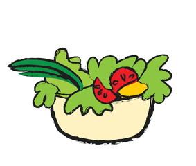 doodle color salad bowl, vegetable