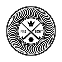 Badge field hockey on a white background . Vector illustration
