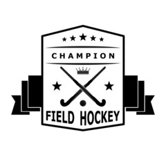 Black badge emblem  for the team field hockey with ribbon. Vecto