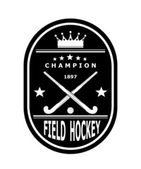 Black badge emblem for the team field hockey with crown. Vector