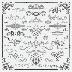 Vector Black Vintage Hand Drawn Swirls Collection