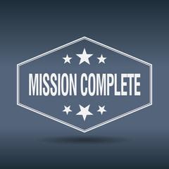 mission complete hexagonal white vintage retro style label