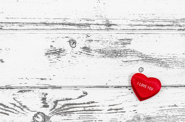 Empty wooden table with heart