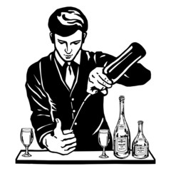 bartender at the bar with bottles