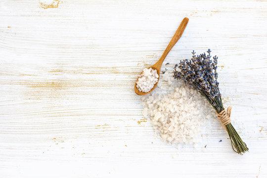 sea salt bath with lavender on the table