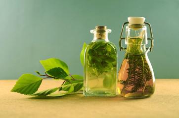 Fototapeta Ziołolecznictwo ziołowe nalewki zestaw bio eco zdrowie