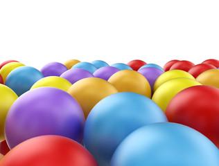 Multi color balls on white background