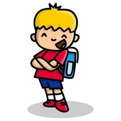 Cute Boy in School Uniform Flat Design cartoon