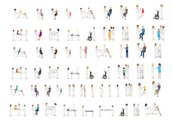 Medical Staff And Patients Different Situations - Isolated On Background - Vector Illustration, Graphic Design Editable For Your Design