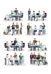 3D Business People, Different Situation Set - Isolated On White Background - Vector Illustration, Graphic Design Editable For Your Design