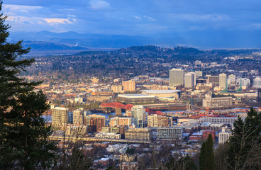 Fototapete - Sunset View of Portland Oregon