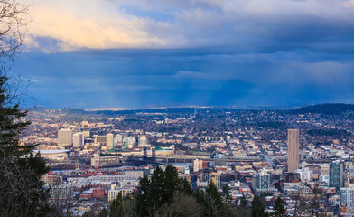 Wall Mural - Sunset View of Portland Oregon