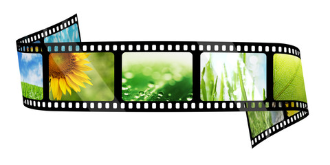 Film strip with images isolated on white