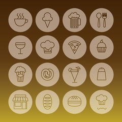 set of line icon related to restaurant