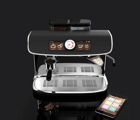 Chrome coffee machine isolated on black background.