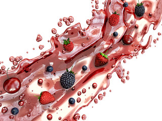 Ripe forest berries falling into the juice splash