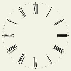 Vintage dial. Roman numeral clock.
