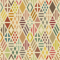 Multicolored geometric seamless pattern with rhombuses.