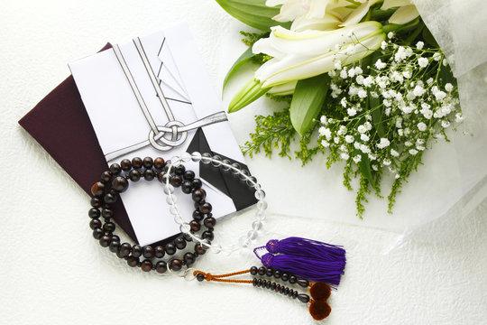 香典袋 数珠 花束