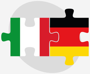 Italy and Germany Flags in puzzle