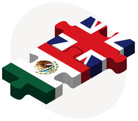 Mexico and United Kingdom Flags in puzzle