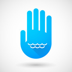 Blue hand icon with a water sign