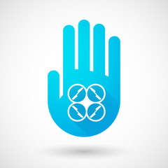 Blue hand icon with a drone