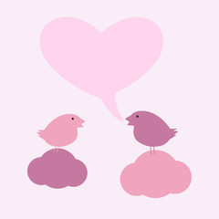 Birds on clouds with hearty speech bubble