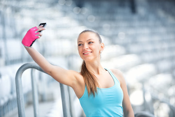 Fitness concept with smartphone, girl and workout