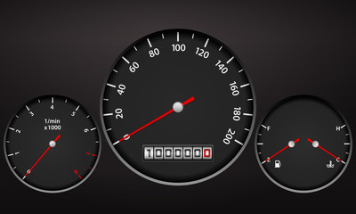 Car dashboard elements on a black background.