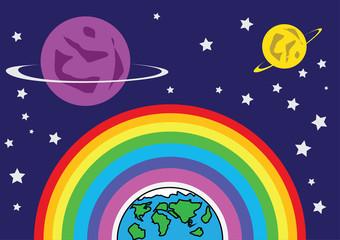 Rainbow Earth and Mars