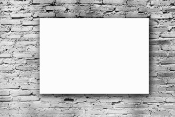 white paper on old brick wall texture, grunge wall