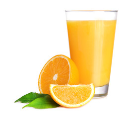 Fotorolgordijn Sap Glass of orange juice isolated on white