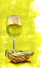 Watercolour glass of wine with an oyster